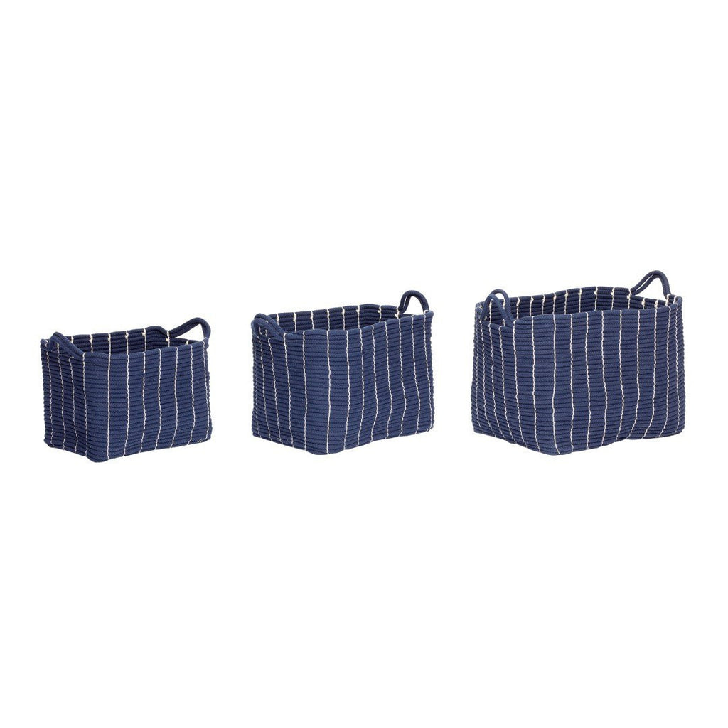 Basket with handle, cotton, blue, set of 3