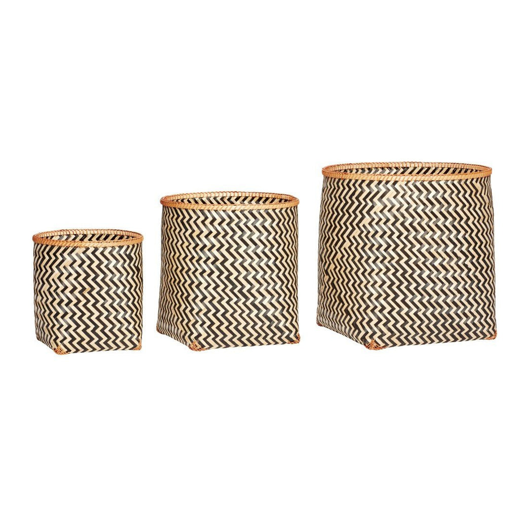 Basket, round, bamboo, nature/black, set of 3