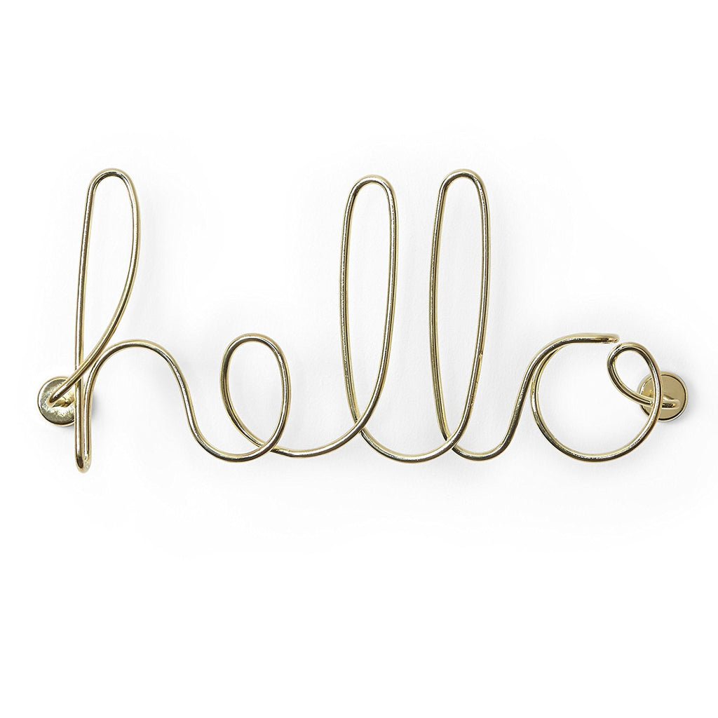 Umbra Wire Wall Decor, Hello, Brass
