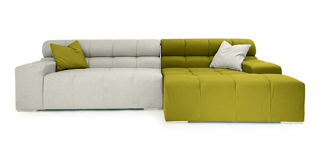 Kardiel Cubix Modern Modular Sofa Sectional Right, Deco Moss/Heather Cashmere