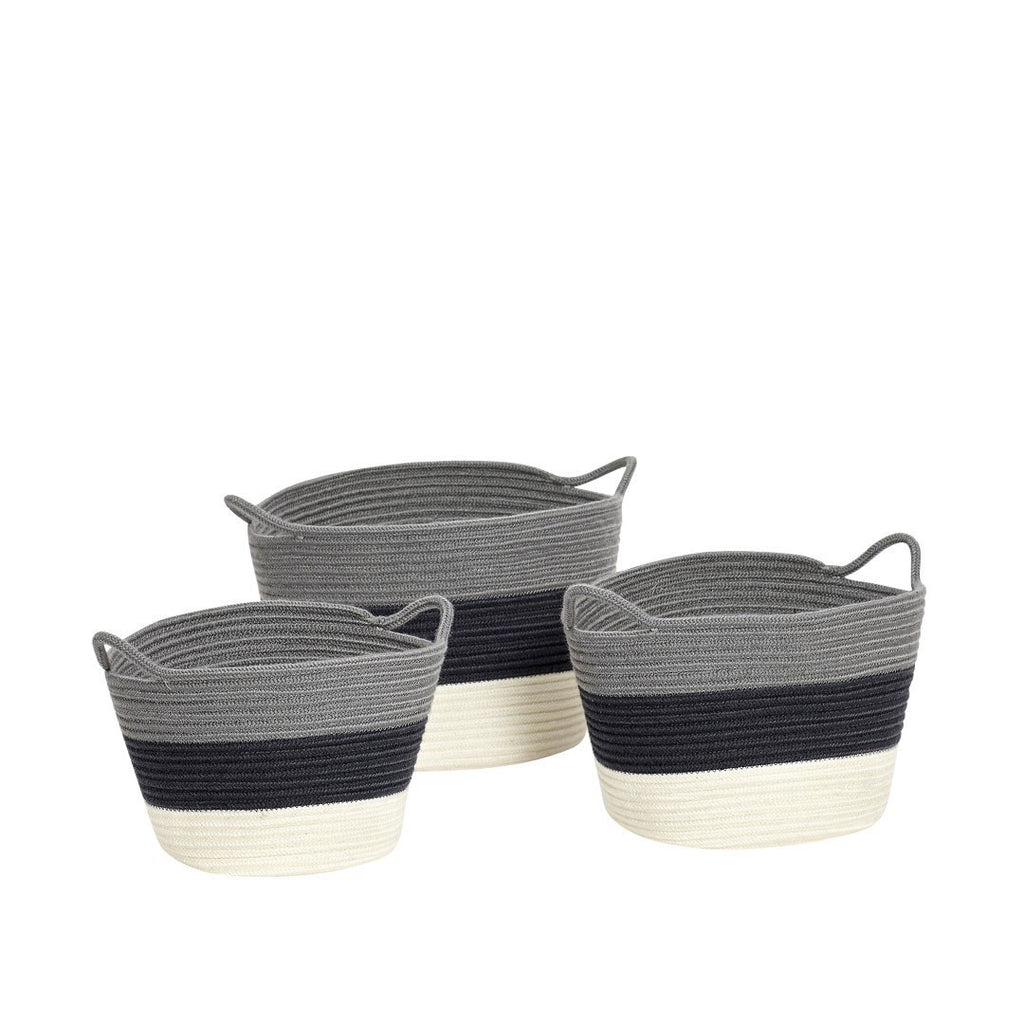 Basket, knitted, grey/navy blue/white, set of 3
