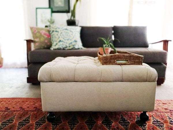 Make your own Deep Buttoned Ottoman in 12 easy steps