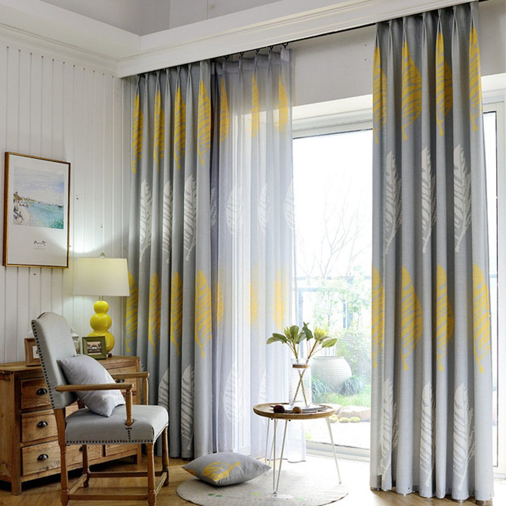 Botanical Inspired Grey Curtains in Popular Fabric for Curtains