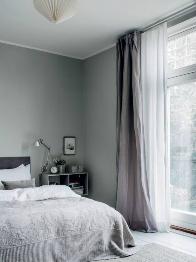 Popular Fabrics for Curtains - Grey curtains in a Monochrome Bedroom