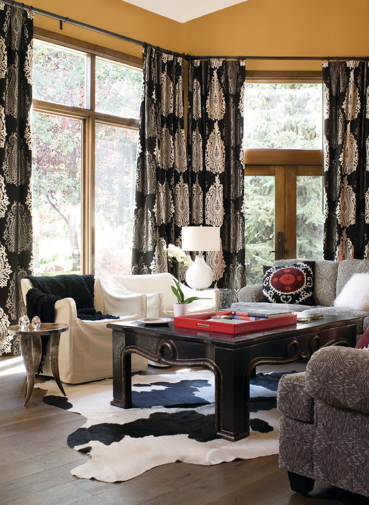 Unique-curtains-in-Living-Room-Contemporary-with-Suzani-next-to-Sofa-alongside-Cowhide-Rugs