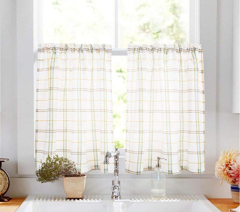 cafe curtains with simple pattern