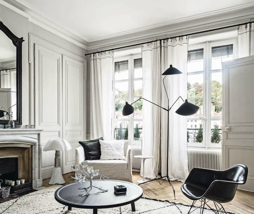 black and white scandinavian interior with matched curtain finishes