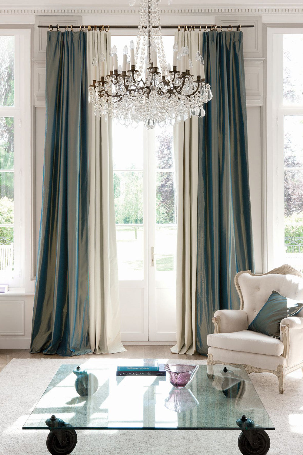 classic satin drapery curtains with drapery hardware for winter