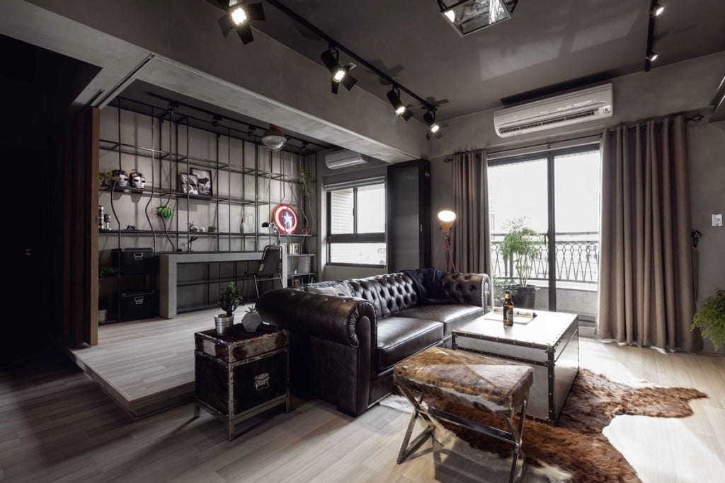 industrial loft style living and study area with iron finishes