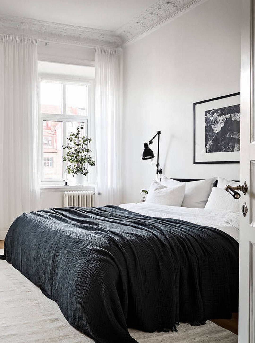 scandinavian bedroom with white light linen curtains