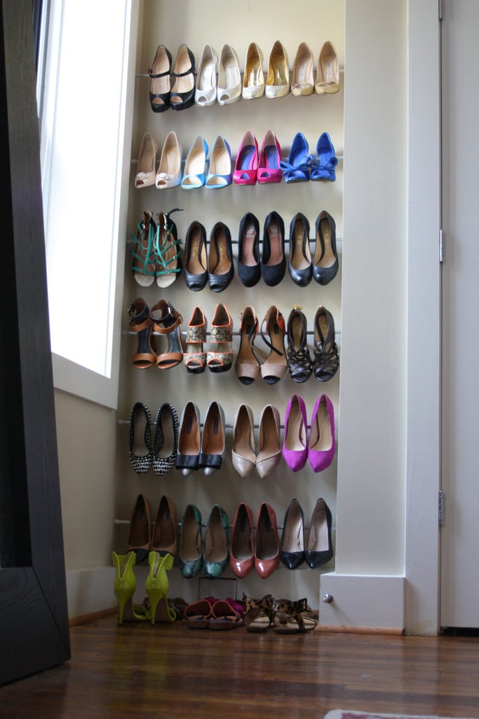 spring tension shoe rack