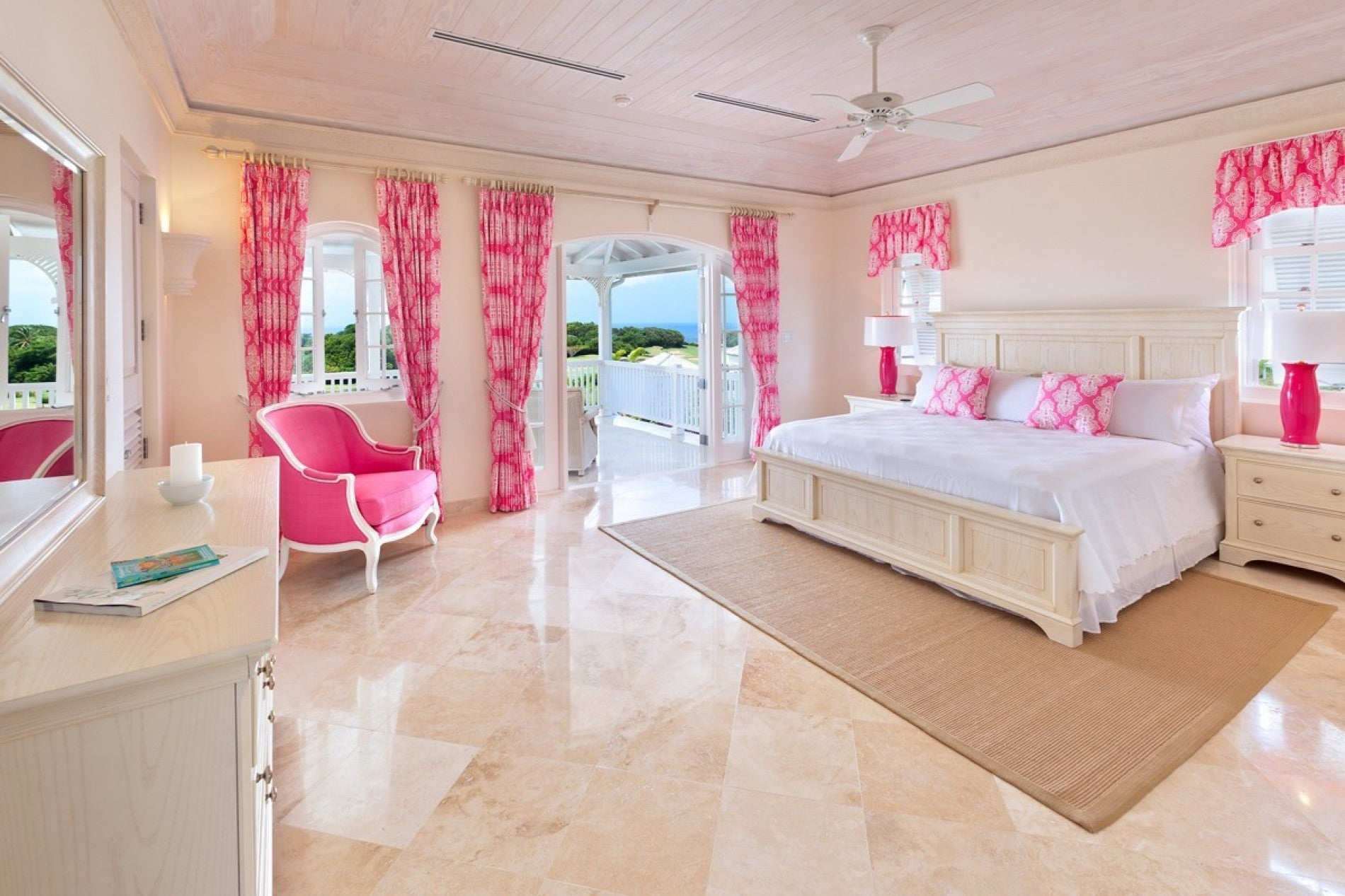 traditional bedroom with pink curtains and decor