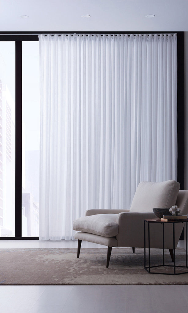 wave pleat white curtain in light sitting area