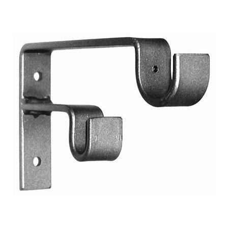ONA Drapery Double Staggered Standard Wrought Iron Curtain Rod Bracket