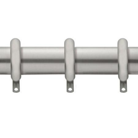 Kirsch Designer Metals 1 3/8 Inch Diameter Smooth Traverse Curtain Rod Set with Rings, 180 - 270 Inches