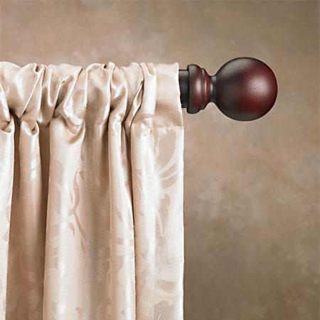 1 3/8 Inch Single Wood Curtain Rod Sets