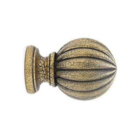 "Select Wood Reeded Ball Finial For 3"" Wood Drapery Poles"