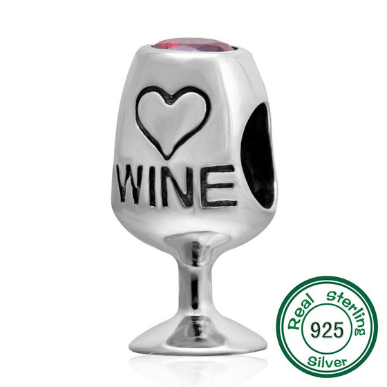 Wine Glass Love Charm  Sterling Silver Heart Beads fits Pandora - Wine Time Club