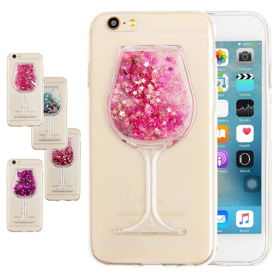 3D Wine Glass Quicksand Transparent Case Cover Phone Cases For iPhone 7 +7 plus - Wine Time Club