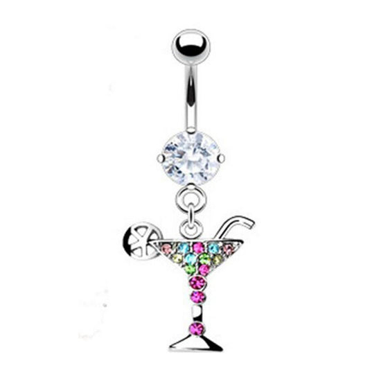 Martini Glass Dangle Navel Belly Button Rings - Wine Time Club