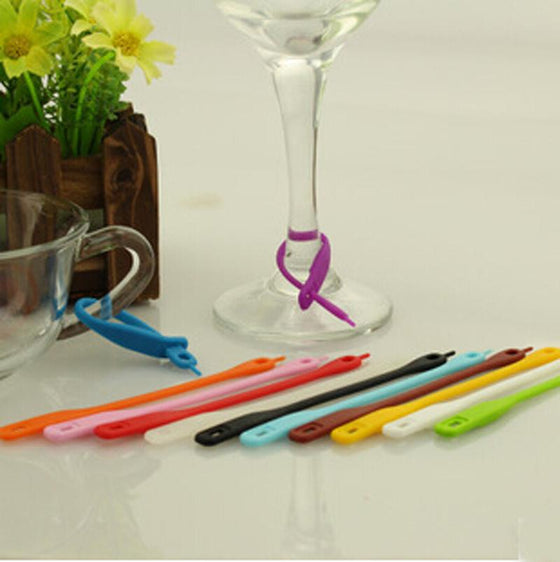 12pc Colorful Long Silicone Wine Glass Marker - Wine Time Club