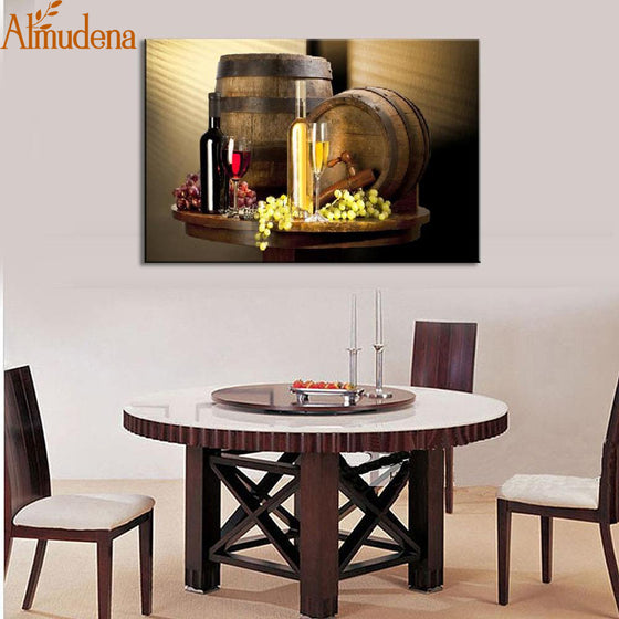 Wine Bottles Wall Art Painting - Wine Time Club
