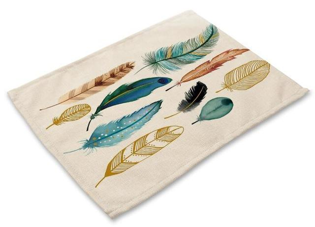 4pcs Placemat Colorful Feather Printed Mat Kitchen Accessories Tablecloth Drink Coaster Pad Plate almofada Doilies Pad Table Mat - Wine Time Club