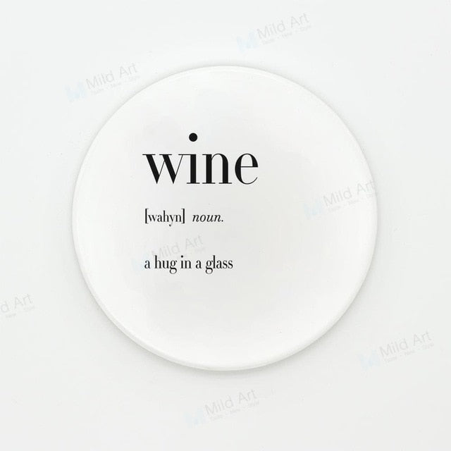 Coffee Tea Wine Ceramic Coaster Gift Nordic Minimalist Black White Humor Food Potato Quotes Cup Cafe Kitchen Accessories Pad Mat