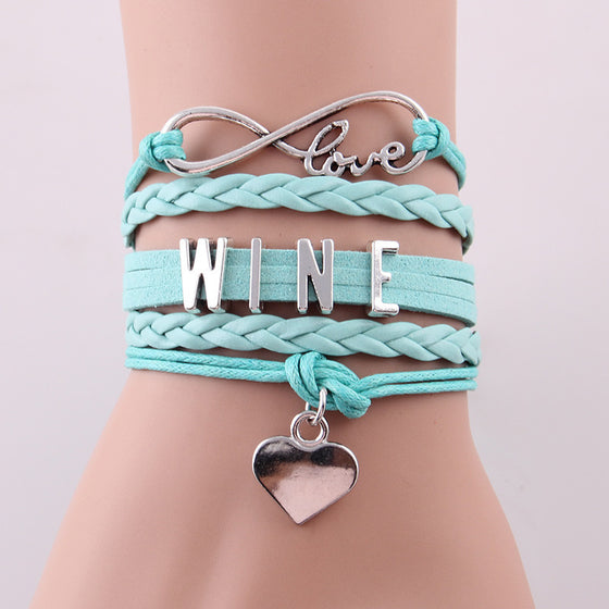 Infinity Love WINE Leather Rope Bracelet - Wine Time Club