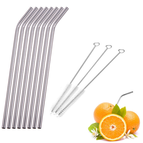 4/6/8Pcs/lot Reusable Stainless Steel Drinking Straw Metal Straight Curved with 1/2/3 Cleaner Brush Kit Home Bar Drinkware