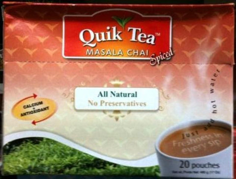 Quik Tea Masala Chai (Spiced) 20 Pouches 17 OZ (480 Grams)
