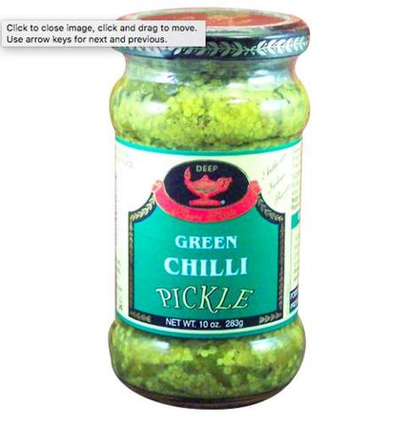 Deep Green Chilli Pickle 10 OZ (283 Grams)