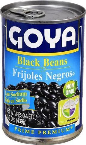 Goya Black Beans (low Sodium) 15 OZ (439 Grams)