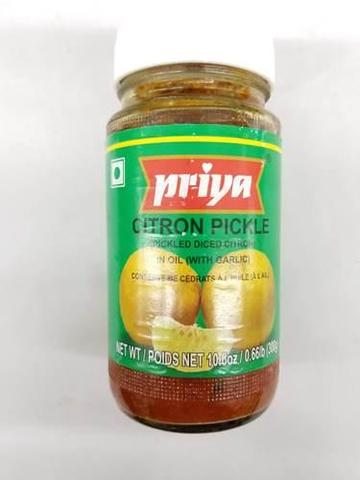 Priya Citron Pickle In Oil (with Garlic) 11 OZ (300 Grams)