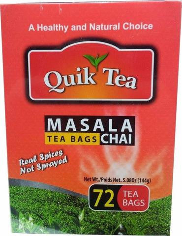 Quik Tea Masala Chai 72 Tea Bags 5.08 OZ (144 Grams)