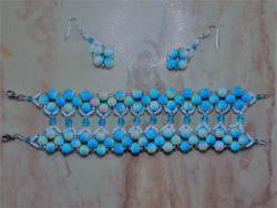 B2-001/Fance Blue Pearl and Crystal Bracelet/Earring Set