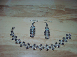 B2-007/Crystal Bracelet with matching Earrings