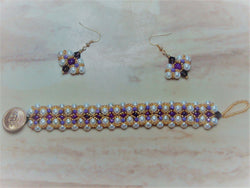B2-008/Pearl and crystal bracelet/earring set