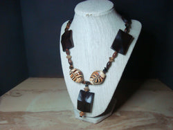 N-009/Caramel Swirl and Wood Necklace