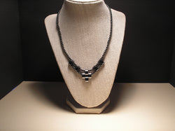 N-014/HALF MOON SHAPED HEMATITE WOVEN NECKLACE