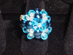 R-001/BLUE PEARL/CRYSTAL COCKTAIL RINGS