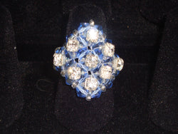 R-002/Blue/Clear crystal cocktail ring