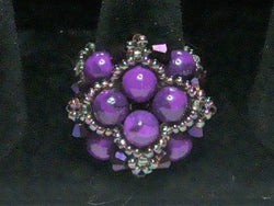 R-007/Purple pearl and crystal cocktail ring