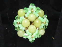 R-008/Yellow jade/green crystal cocktail ring