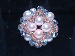 R-011/Pink pearls and lilac crystal cocktail ring