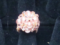 R-015/Apricot pearl and crystal dome cocktail ring