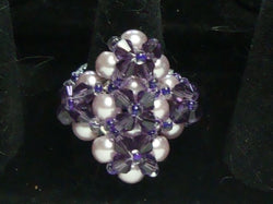 R-016/Lilac pearl and crystal cocktail ring.