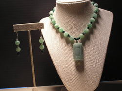 S2-005/LIGHT GREEN JADE EMBELLISHMENT PENDANT NECKLACE WITH MATCHING EARRINGS