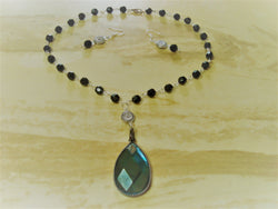 S2-010/Faceted blue/green pendant necklace with matching earrings