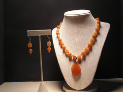 S2-011/CARNELIAN AGATE NECKLACE WITH MATCHING EARRINGS